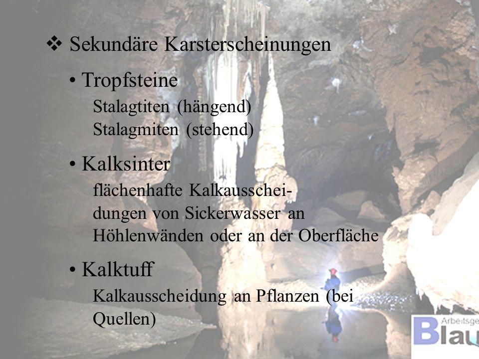 Sekundäre Karsterscheinungen Tropfsteine Stalagtiten (hängend) Stalagmiten (stehend) Kalksinter flächenhafte Kalkausschei- dungen von Sickerwasser an
