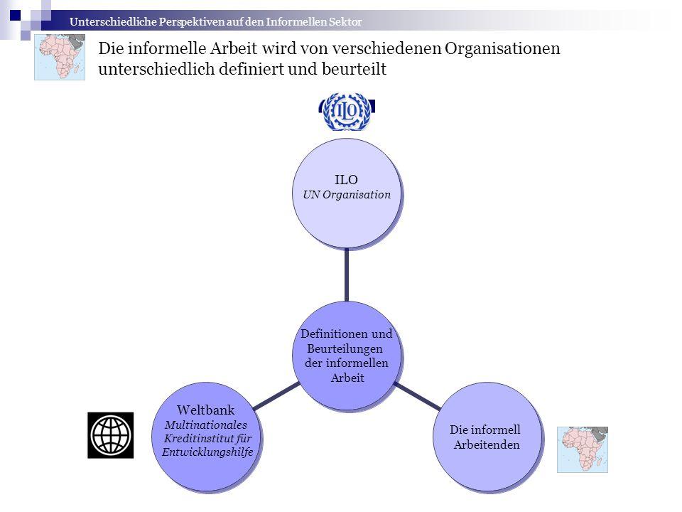 Unterschiedliche Perspektiven auf den Informellen Sektor Die informelle Arbeit wird von verschiedenen Organisationen unterschiedlich definiert und beu