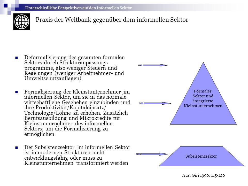 Deformalisierung des gesamten formalen Sektors durch Strukturanpassungs- programme, also weniger Steuern und Regelungen (weniger Arbeitnehmer- und Umw