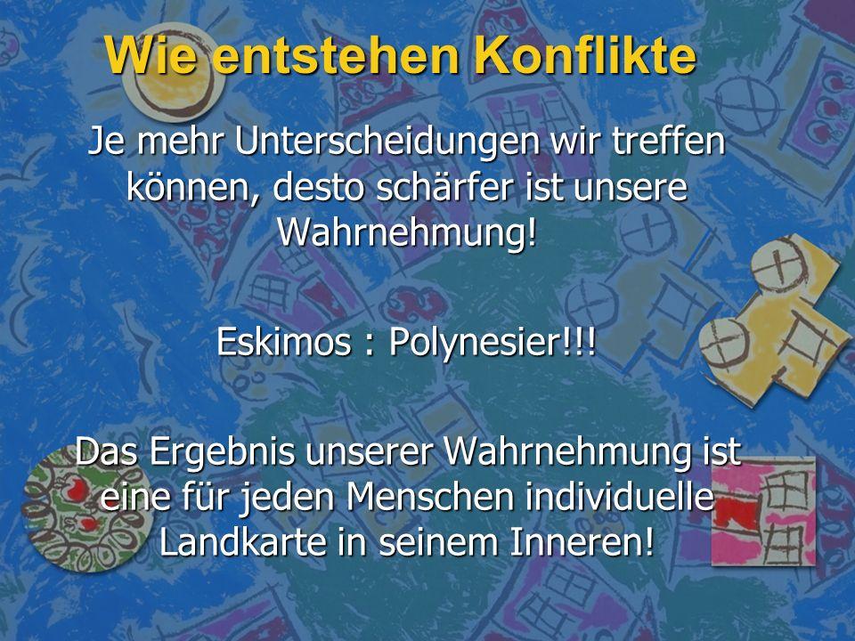 Wie entstehen Konflikte Je mehr Unterscheidungen wir treffen können, desto schärfer ist unsere Wahrnehmung! Eskimos : Polynesier!!! Das Ergebnis unser