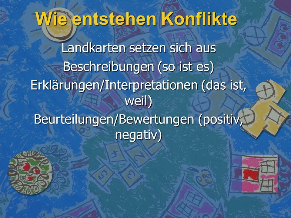 Wie entstehen Konflikte Landkarten setzen sich aus Beschreibungen (so ist es) Erklärungen/Interpretationen (das ist, weil) Beurteilungen/Bewertungen (