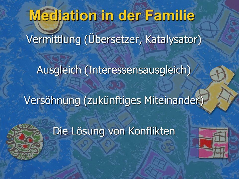 Mediation in der Familie Vermittlung (Übersetzer, Katalysator) Ausgleich (Interessensausgleich) Versöhnung (zukünftiges Miteinander) Die Lösung von Ko