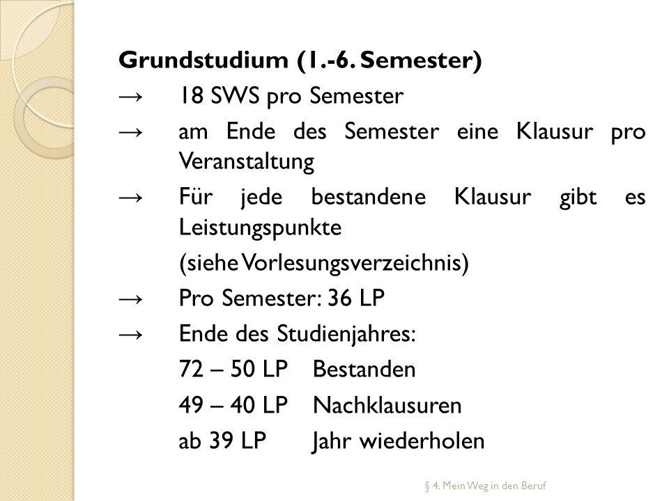Grundstudium (1.-6. Semester) 18 SWS pro Semester am Ende des Semester eine Klausur pro Veranstaltung Für jede bestandene Klausur gibt es Leistungspun