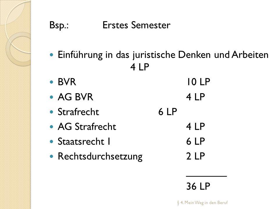Bsp.: Erstes Semester Einführung in das juristische Denken und Arbeiten 4 LP BVR10 LP AG BVR4 LP Strafrecht6 LP AG Strafrecht4 LP Staatsrecht I6 LP Re
