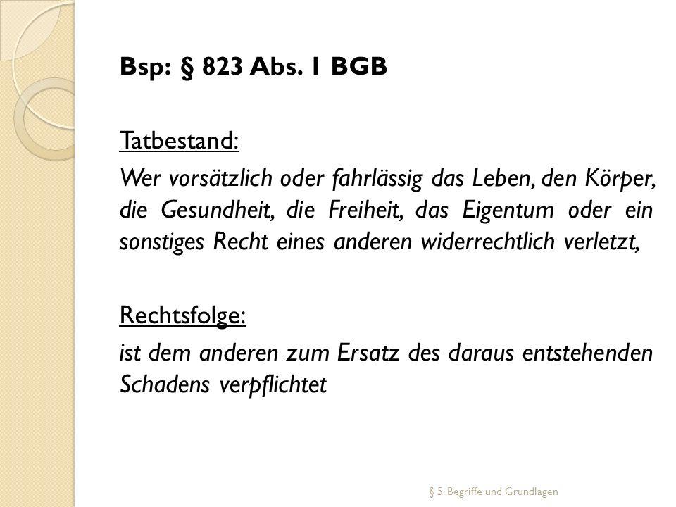 Bsp:§ 823 Abs. 1 BGB Tatbestand: Wer vorsätzlich oder fahrlässig das Leben, den Körper, die Gesundheit, die Freiheit, das Eigentum oder ein sonstiges