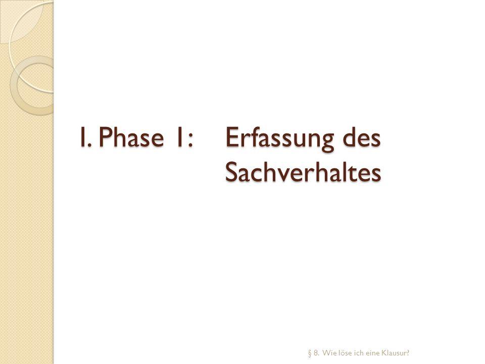 I. Phase 1: Erfassung des Sachverhaltes § 8. Wie löse ich eine Klausur?