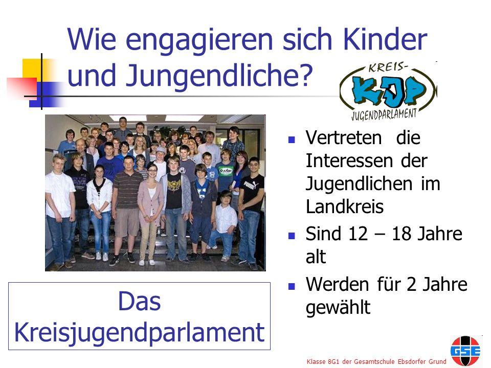 Klasse 8G1 der Gesamtschule Ebsdorfer Grund Wie engagieren sich Kinder und Jungendliche? Vertreten die Interessen der Jugendlichen im Landkreis Sind 1