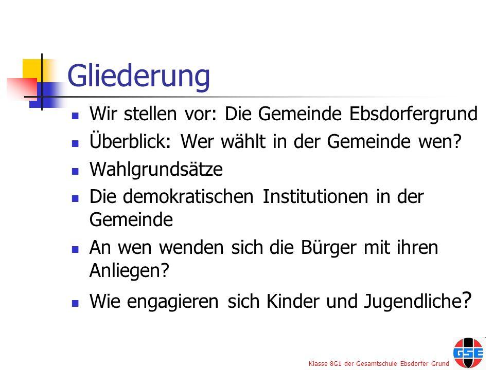 Klasse 8G1 der Gesamtschule Ebsdorfer Grund Gliederung Wir stellen vor: Die Gemeinde Ebsdorfergrund Überblick: Wer wählt in der Gemeinde wen? Wahlgrun
