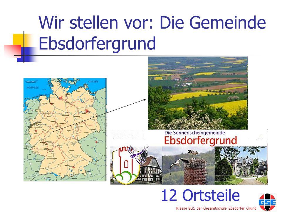 Klasse 8G1 der Gesamtschule Ebsdorfer Grund Ortsteile der Gemeinde Ebsdorfergrund Rauischholzhausen Roßberg Beltershausen- Frauenberg Hachborn Wermertshausen Heskem-Mölln Ilschhausen Wittelsberg Dreihausen Ebsdorf