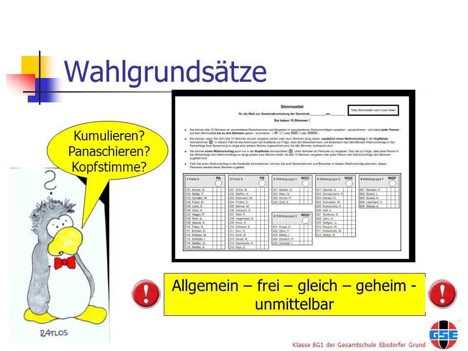 Klasse 8G1 der Gesamtschule Ebsdorfer Grund Wahlgrundsätze Kumulieren? Panaschieren? Kopfstimme? Allgemein – frei – gleich – geheim - unmittelbar