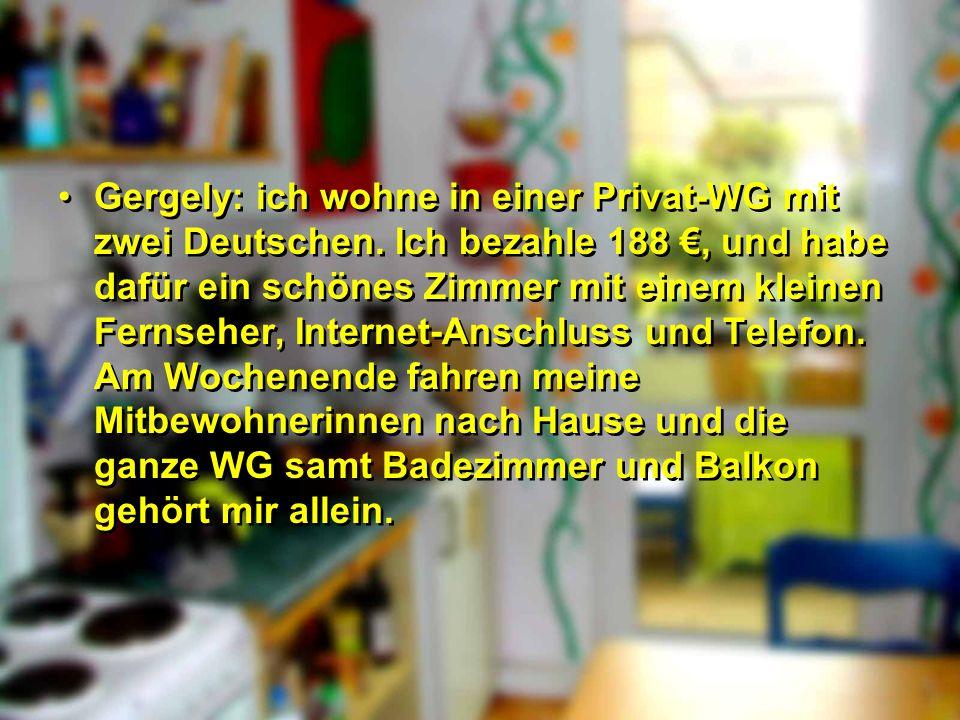 Gergely: ich wohne in einer Privat-WG mit zwei Deutschen. Ich bezahle 188, und habe dafür ein schönes Zimmer mit einem kleinen Fernseher, Internet-Ans