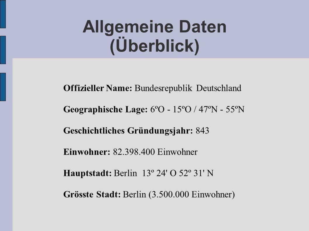 Allgemeine Daten (Überblick) Offizieller Name: Bundesrepublik Deutschland Geographische Lage: 6ºO - 15ºO / 47ºN - 55ºN Geschichtliches Gründungsjahr: