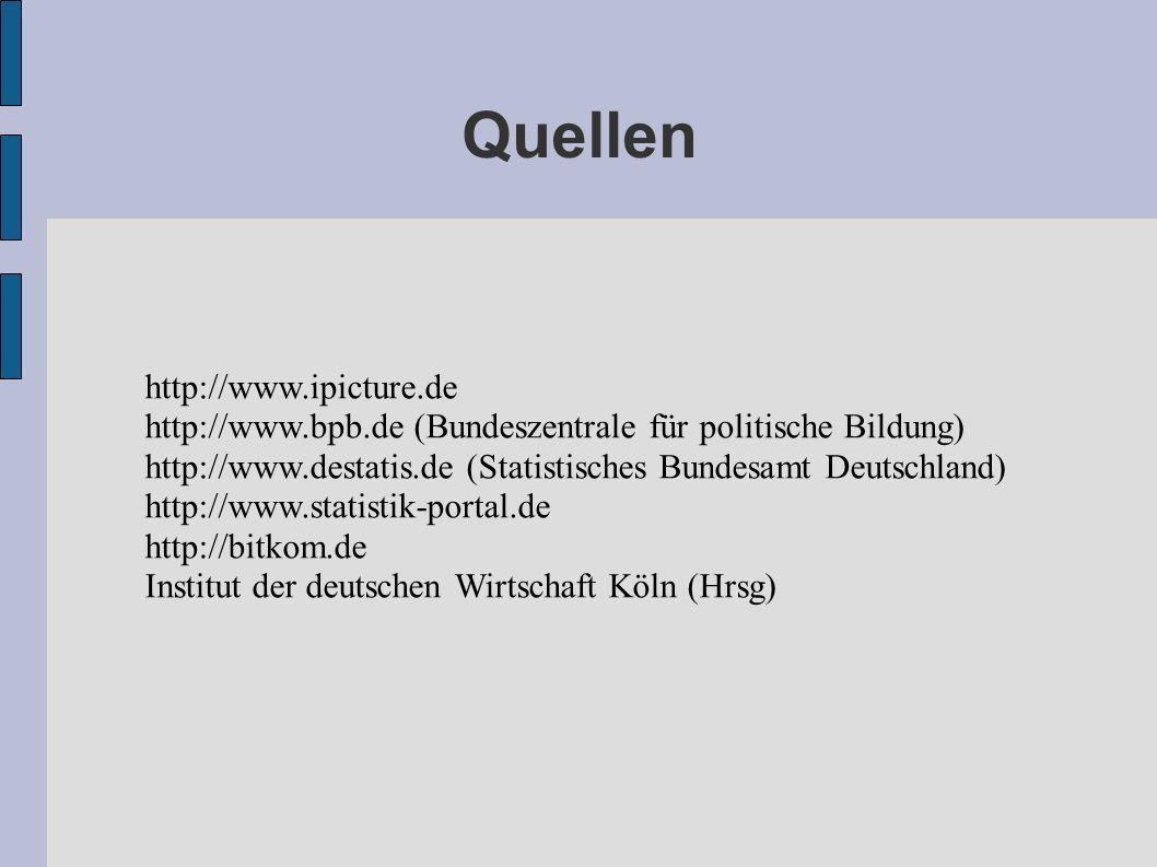 Quellen http://www.ipicture.de http://www.bpb.de (Bundeszentrale für politische Bildung) http://www.destatis.de (Statistisches Bundesamt Deutschland)