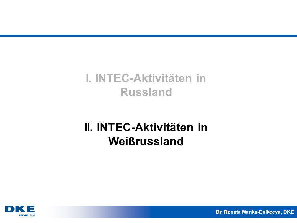 Dr. Renata Wanka-Enikeeva, DKE II. INTEC-Aktivitäten in Weißrussland I. INTEC-Aktivitäten in Russland