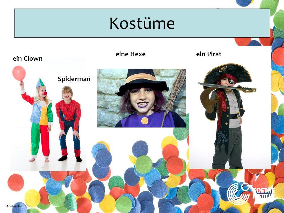 Kostüme ein Clown Spiderman eine Hexeein Pirat ©colourbox.com