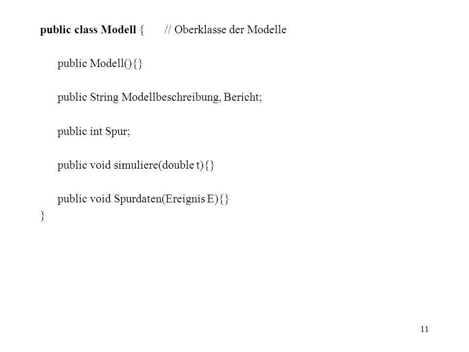 11 public class Modell { // Oberklasse der Modelle public Modell(){} public String Modellbeschreibung, Bericht; public int Spur; public void simuliere