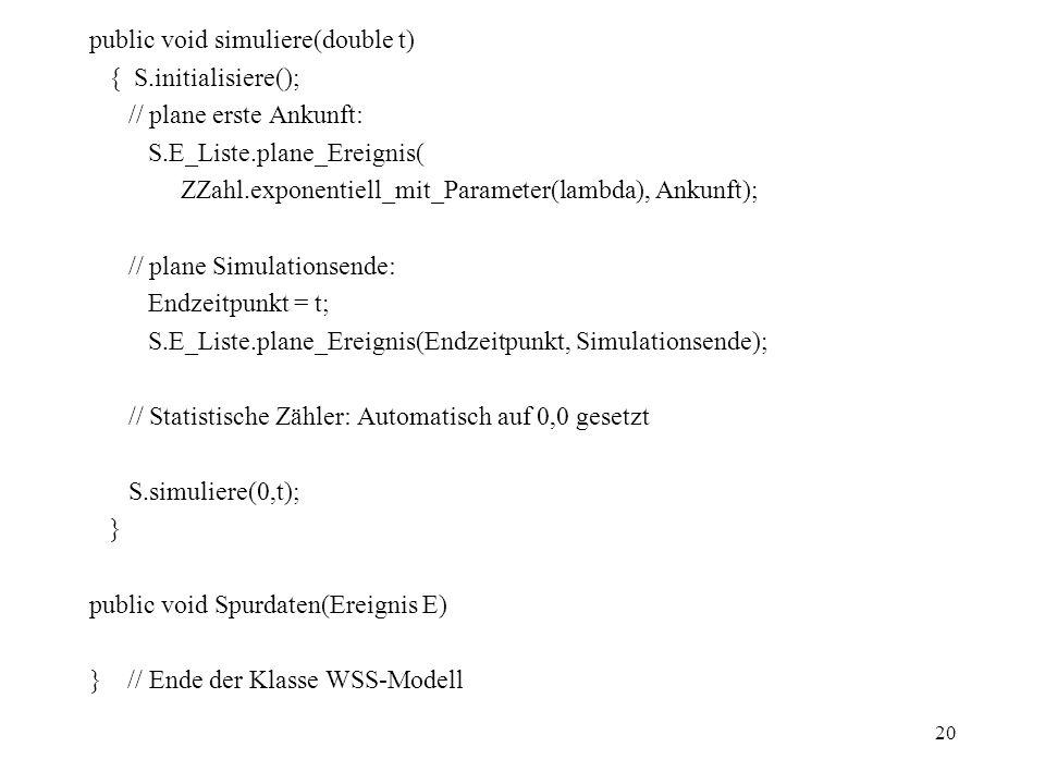 20 public void simuliere(double t) { S.initialisiere(); // plane erste Ankunft: S.E_Liste.plane_Ereignis( ZZahl.exponentiell_mit_Parameter(lambda), An