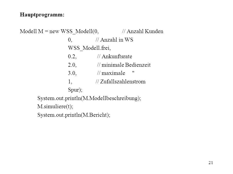 21 Hauptprogramm: Modell M = new WSS_Modell(0, // Anzahl Kunden 0, // Anzahl in WS WSS_Modell.frei, 0.2, // Ankunftsrate 2.0, // minimale Bedienzeit 3