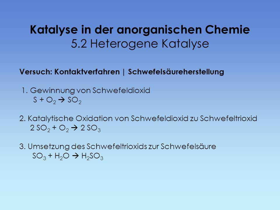 Katalyse in der anorganischen Chemie 5.2 Heterogene Katalyse Versuch: Kontaktverfahren | Schwefelsäureherstellung 1. Gewinnung von Schwefeldioxid S +