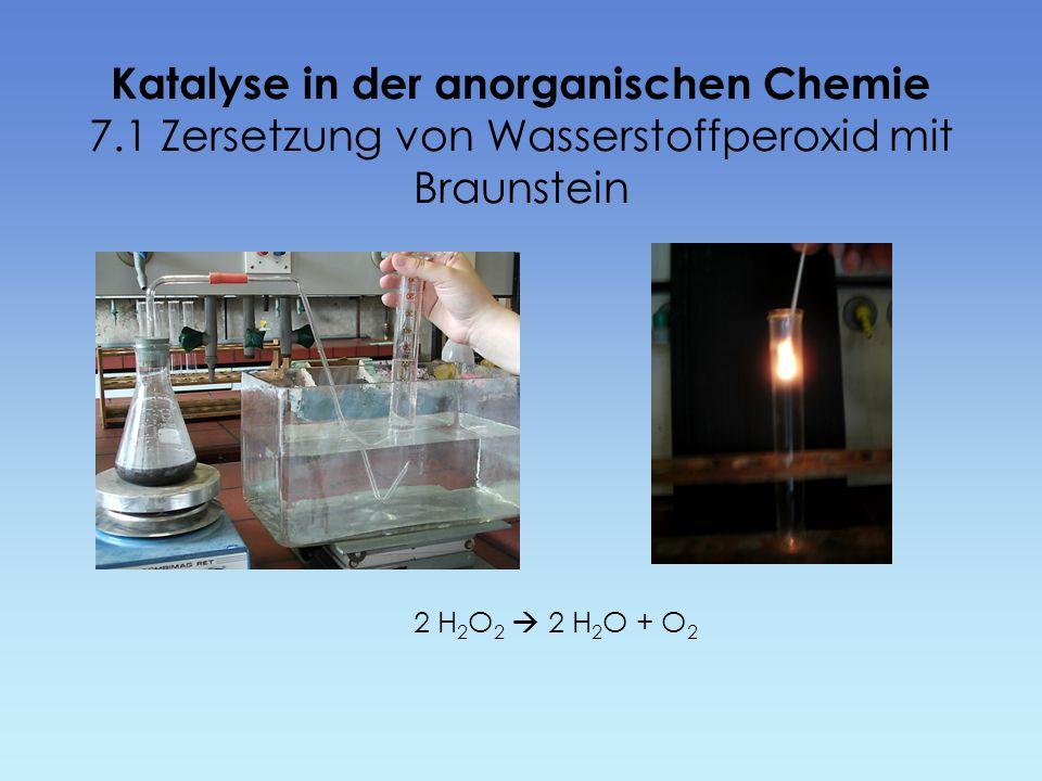 Katalyse in der anorganischen Chemie 7.1 Zersetzung von Wasserstoffperoxid mit Braunstein 2 H 2 O 2 2 H 2 O + O 2