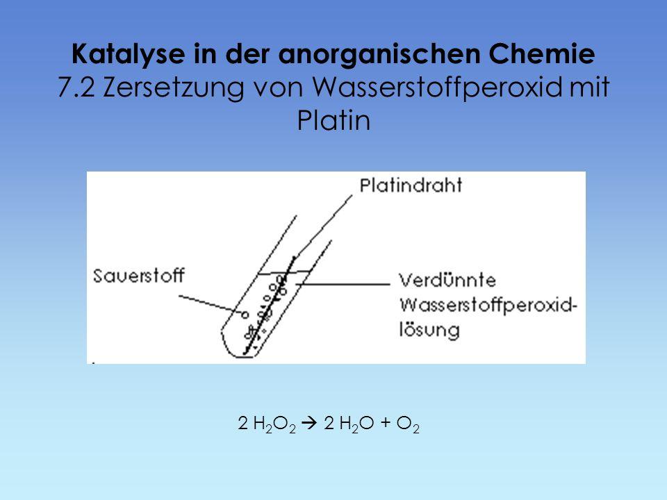 Katalyse in der anorganischen Chemie 7.2 Zersetzung von Wasserstoffperoxid mit Platin 2 H 2 O 2 2 H 2 O + O 2