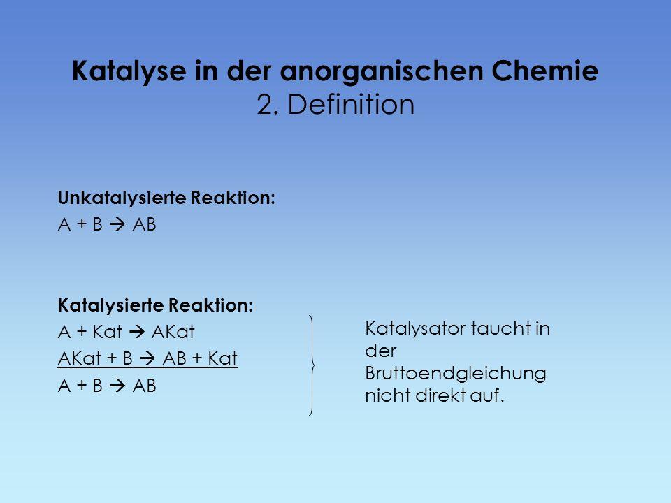 Katalyse in der anorganischen Chemie 2. Definition Unkatalysierte Reaktion: A + B AB Katalysierte Reaktion: A + Kat AKat AKat + B AB + Kat A + B AB Ka