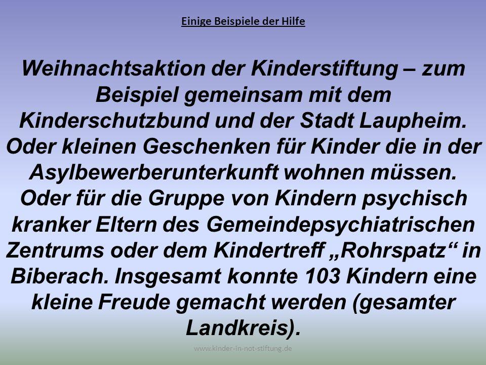 Einige Beispiele der Hilfe www.kinder-in-not-stiftung.de Weihnachtsaktion der Kinderstiftung – zum Beispiel gemeinsam mit dem Kinderschutzbund und der