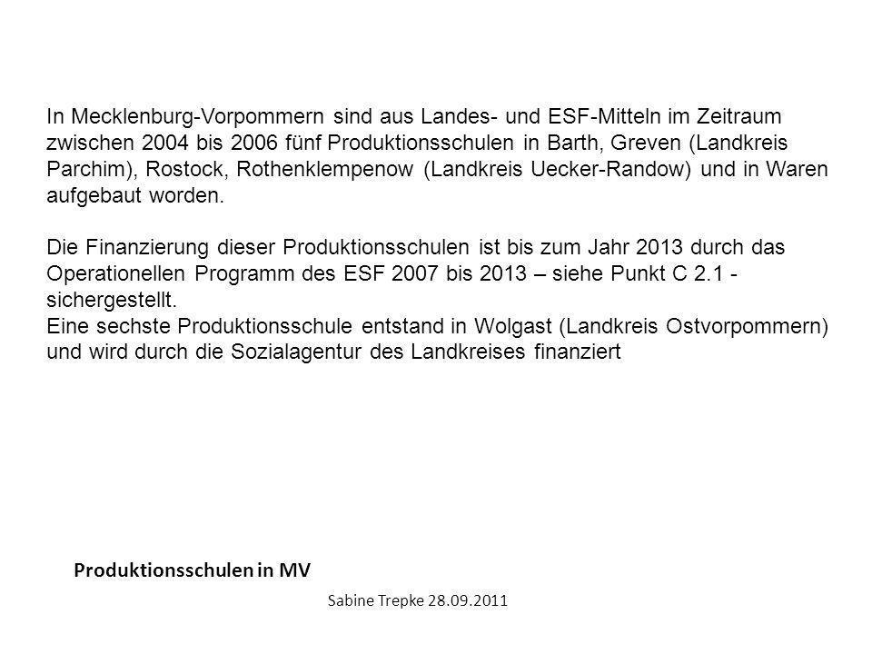 Produktionsschulen in MV Sabine Trepke 28.09.2011 In Mecklenburg-Vorpommern sind aus Landes- und ESF-Mitteln im Zeitraum zwischen 2004 bis 2006 fünf P