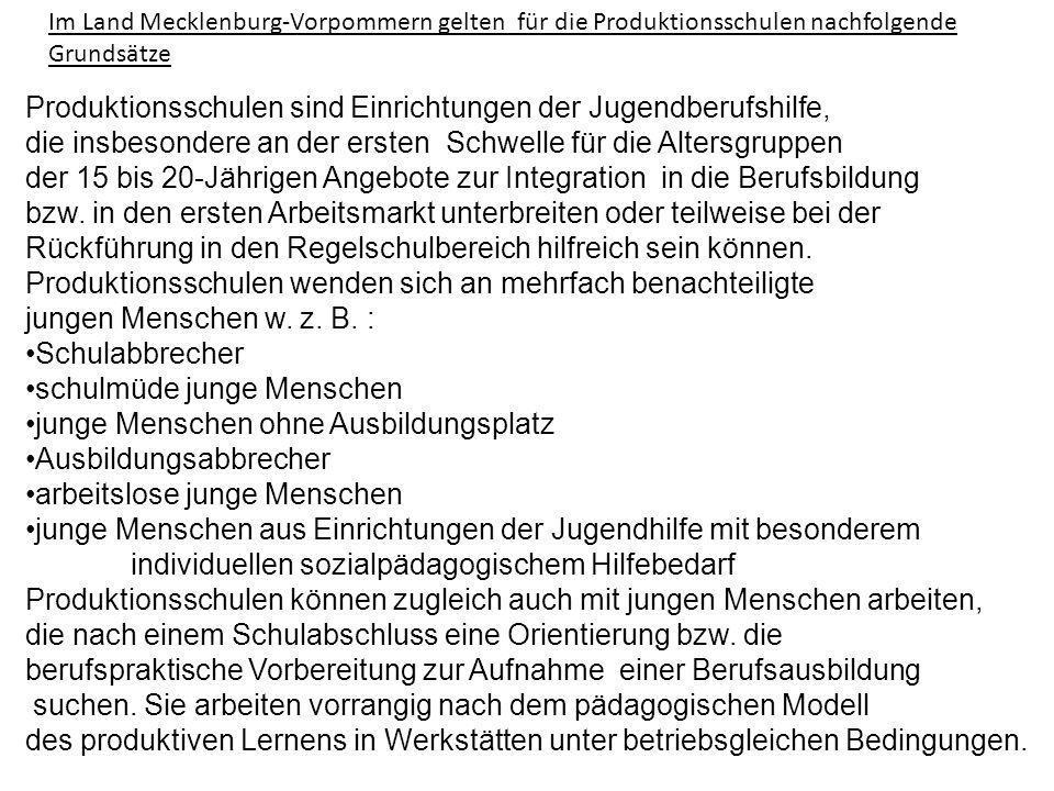 Im Land Mecklenburg-Vorpommern gelten für die Produktionsschulen nachfolgende Grundsätze Produktionsschulen sind Einrichtungen der Jugendberufshilfe,