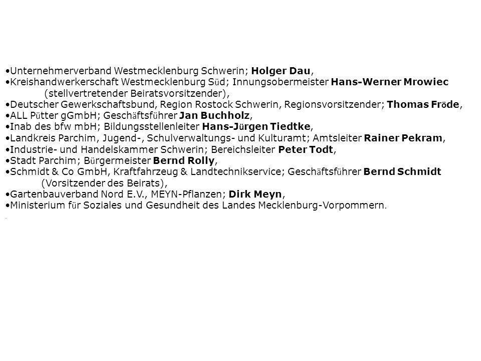 Unternehmerverband Westmecklenburg Schwerin; Holger Dau, Kreishandwerkerschaft Westmecklenburg S ü d; Innungsobermeister Hans-Werner Mrowiec (stellver
