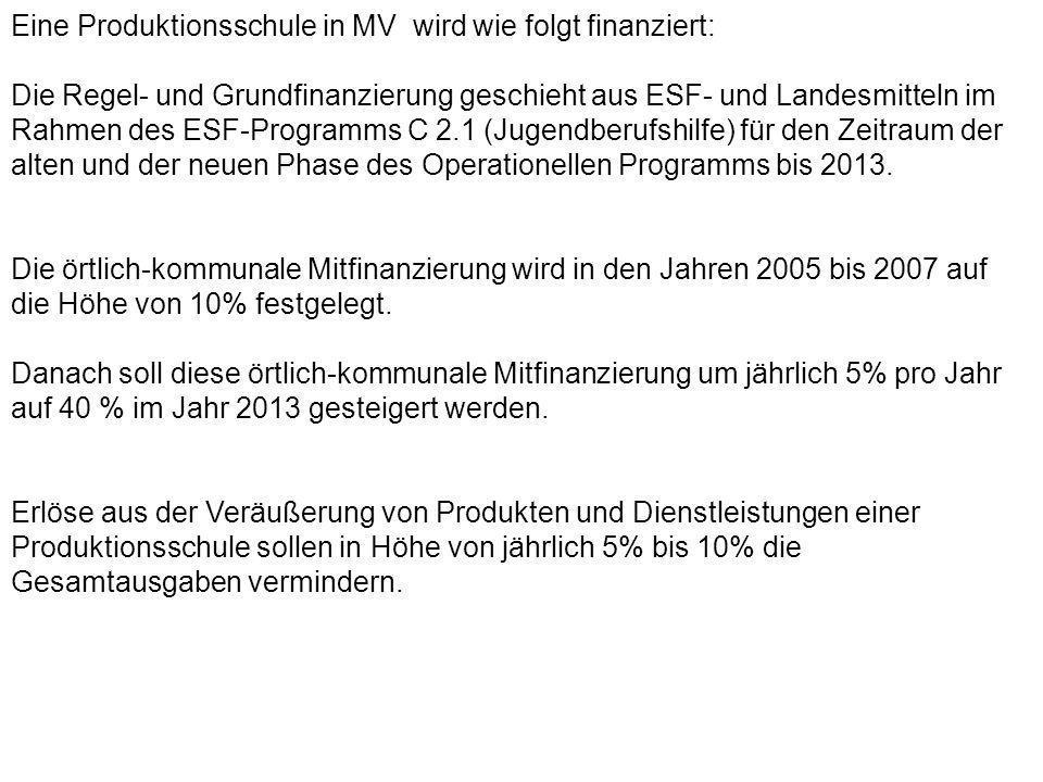 Eine Produktionsschule in MV wird wie folgt finanziert: Die Regel- und Grundfinanzierung geschieht aus ESF- und Landesmitteln im Rahmen des ESF-Progra