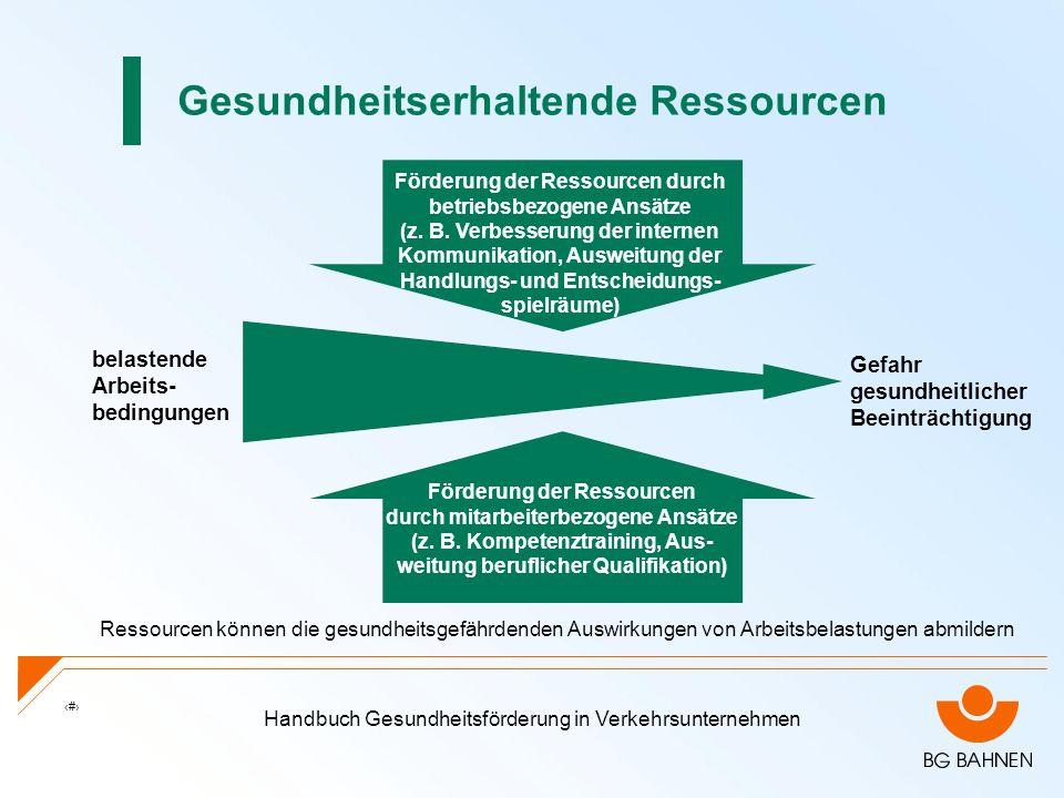 Handbuch Gesundheitsförderung in Verkehrsunternehmen 10 Gesundheitserhaltende Ressourcen Ressourcen können die gesundheitsgefährdenden Auswirkungen vo