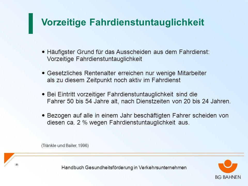 Handbuch Gesundheitsförderung in Verkehrsunternehmen 2 Häufigster Grund für das Ausscheiden aus dem Fahrdienst: Vorzeitige Fahrdienstuntauglichkeit Ge