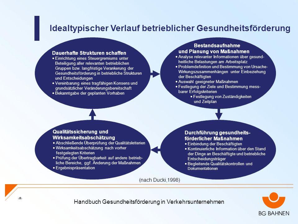 Handbuch Gesundheitsförderung in Verkehrsunternehmen 20 Idealtypischer Verlauf betrieblicher Gesundheitsförderung Dauerhafte Strukturen schaffen Einri