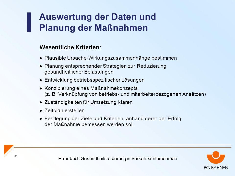 Handbuch Gesundheitsförderung in Verkehrsunternehmen 25 Auswertung der Daten und Planung der Maßnahmen Wesentliche Kriterien: Plausible Ursache-Wirkun