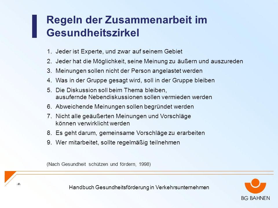 Handbuch Gesundheitsförderung in Verkehrsunternehmen 27 Regeln der Zusammenarbeit im Gesundheitszirkel 1.Jeder ist Experte, und zwar auf seinem Gebiet