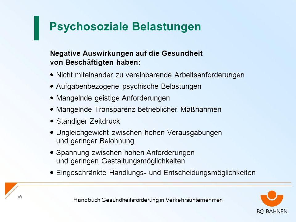 Handbuch Gesundheitsförderung in Verkehrsunternehmen 7 Psychosoziale Belastungen Negative Auswirkungen auf die Gesundheit von Beschäftigten haben: Nic