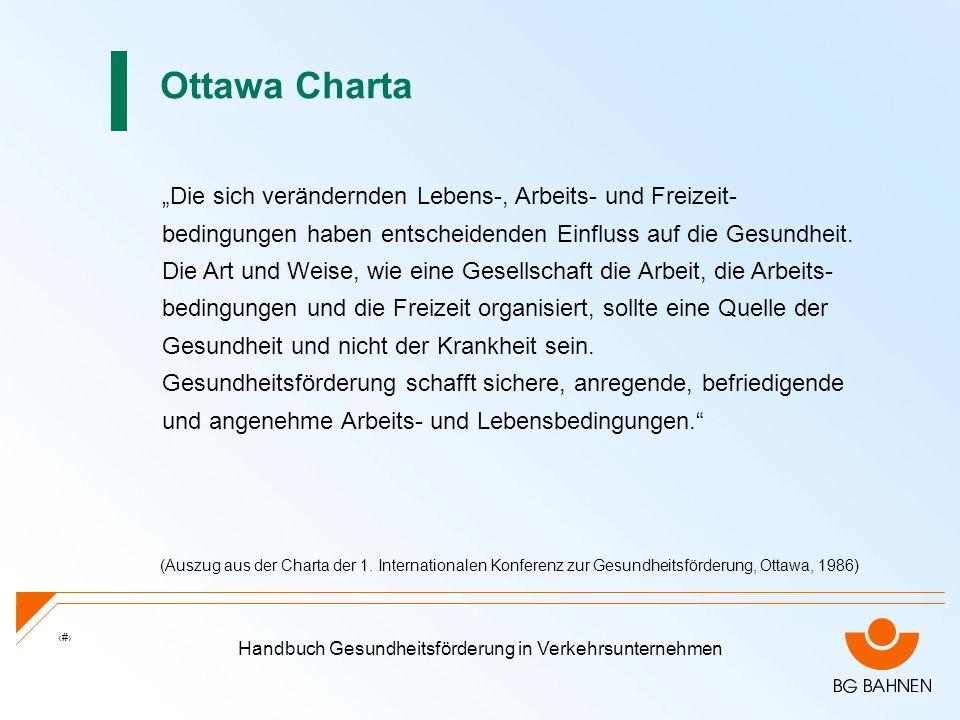 Handbuch Gesundheitsförderung in Verkehrsunternehmen 8 Ottawa Charta Die sich verändernden Lebens-, Arbeits- und Freizeit- bedingungen haben entscheid