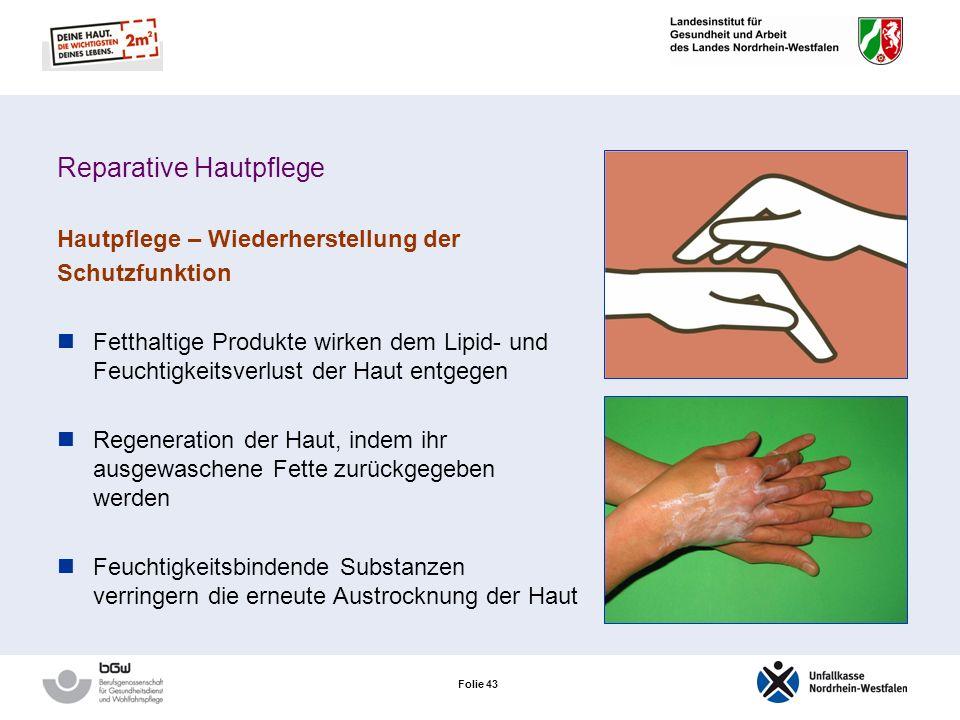 Folie 42 Die 6 Säulen des Hautschutzes Präparativer Hautschutz Auswahl geeigneter Handschuhe Händedesinfektion Schonende Hautreinigung Reparative Haut