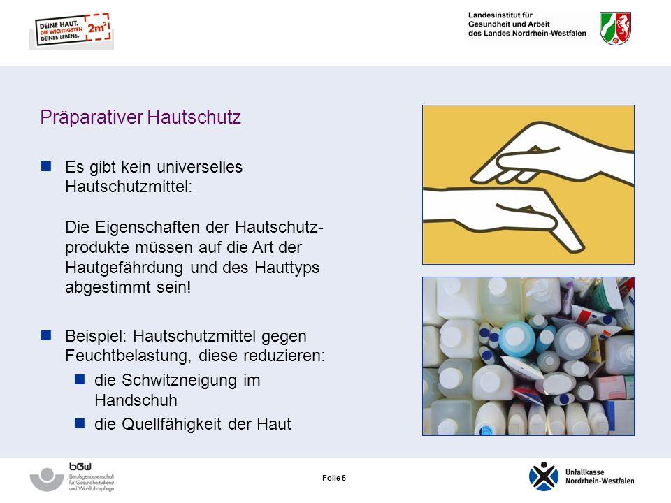 Folie 55 Die 6 Säulen des Hautschutzes Präparativer Hautschutz Auswahl geeigneter Handschuhe Händedesinfektion Schonende Hautreinigung Reparative Hautpflege Arbeitsmedizinische Vorsorge Ende