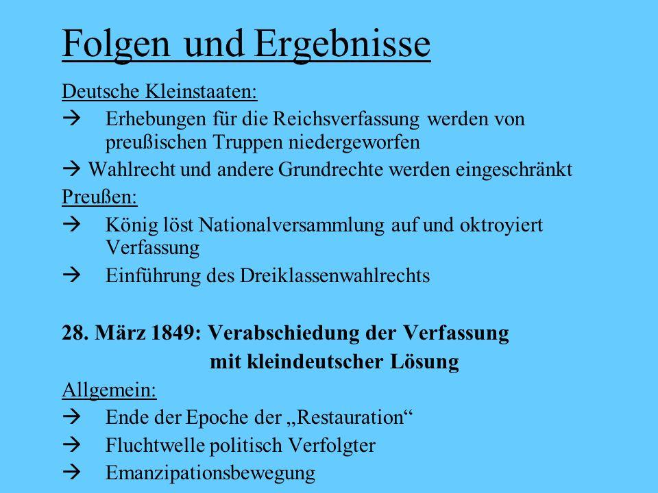 Folgen und Ergebnisse Deutsche Kleinstaaten: Erhebungen für die Reichsverfassung werden von preußischen Truppen niedergeworfen Wahlrecht und andere Gr