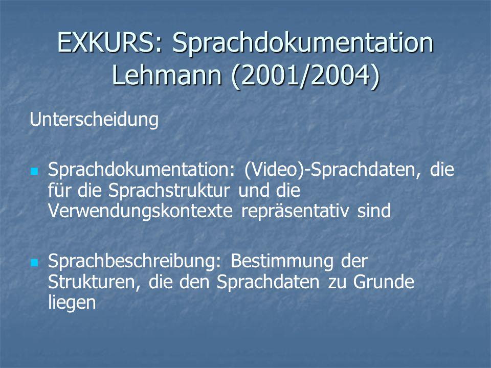 EXKURS: Sprachdokumentation Lehmann (2001/2004) Unterscheidung Sprachdokumentation: (Video)-Sprachdaten, die für die Sprachstruktur und die Verwendung