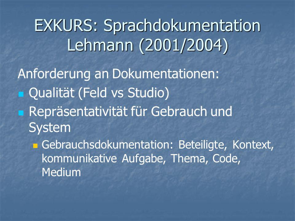 EXKURS: Sprachdokumentation Lehmann (2001/2004) Anforderung an Dokumentationen: Qualität (Feld vs Studio) Repräsentativität für Gebrauch und System Ge
