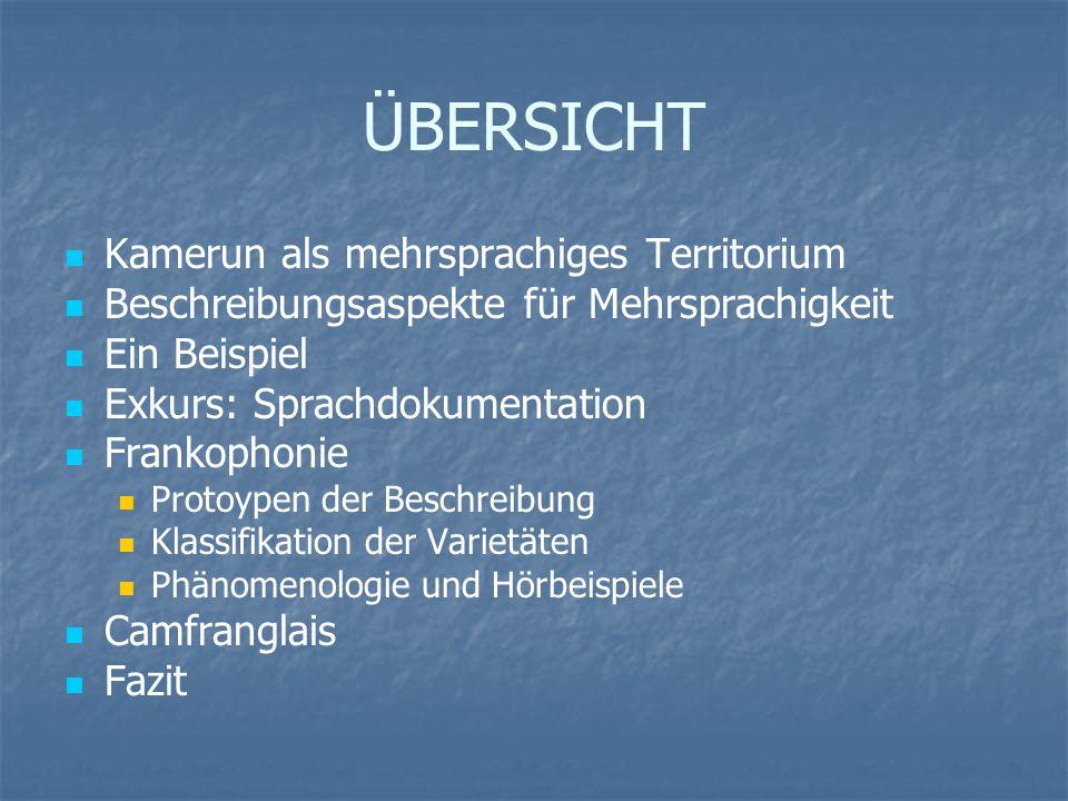 EXKURS: Sprachdokumentation Ethnologue 1.Primary language name 1.