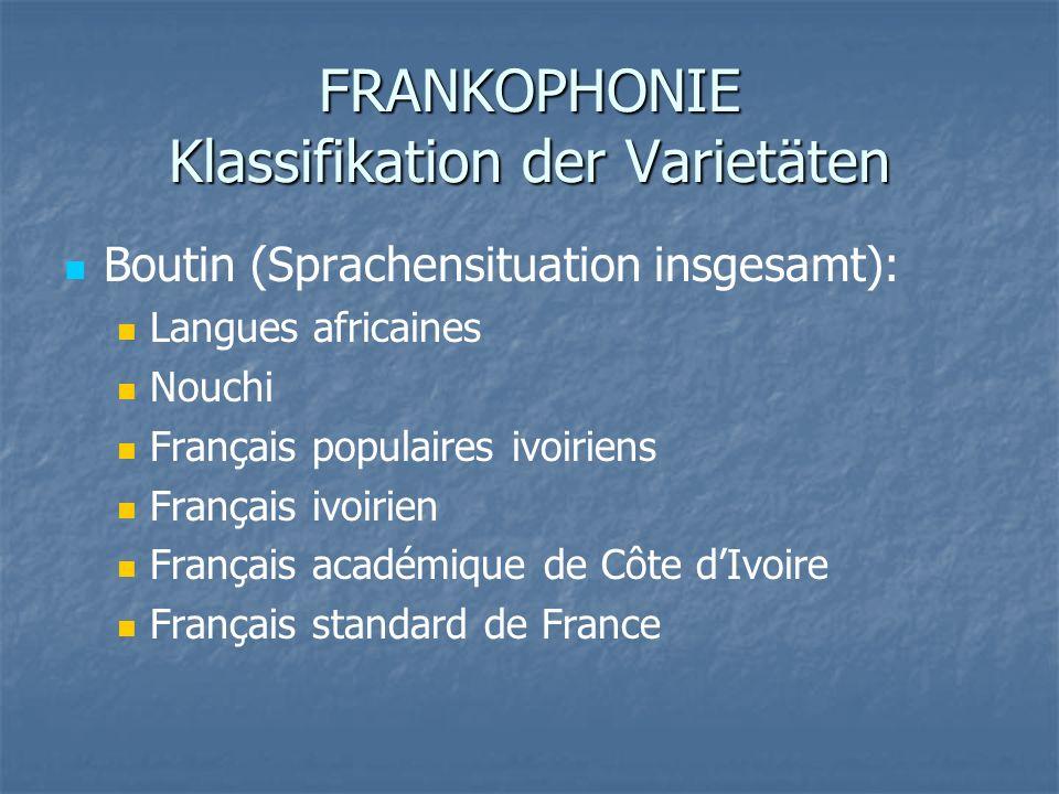 FRANKOPHONIE Klassifikation der Varietäten Boutin (Sprachensituation insgesamt): Langues africaines Nouchi Français populaires ivoiriens Français ivoi