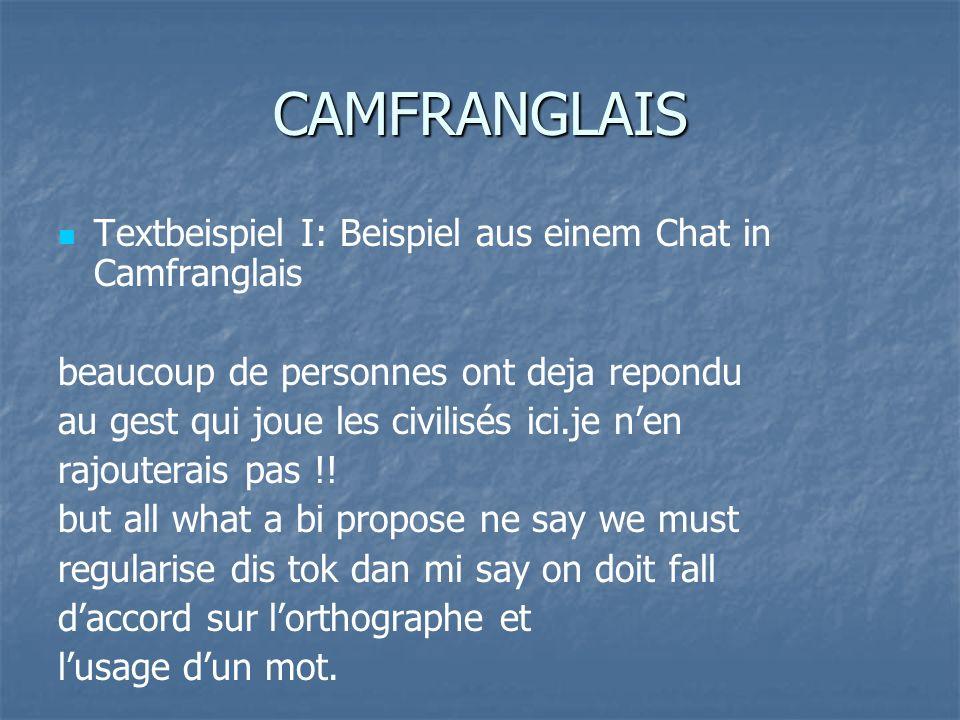 CAMFRANGLAIS Textbeispiel I: Beispiel aus einem Chat in Camfranglais beaucoup de personnes ont deja repondu au gest qui joue les civilisés ici.je nen