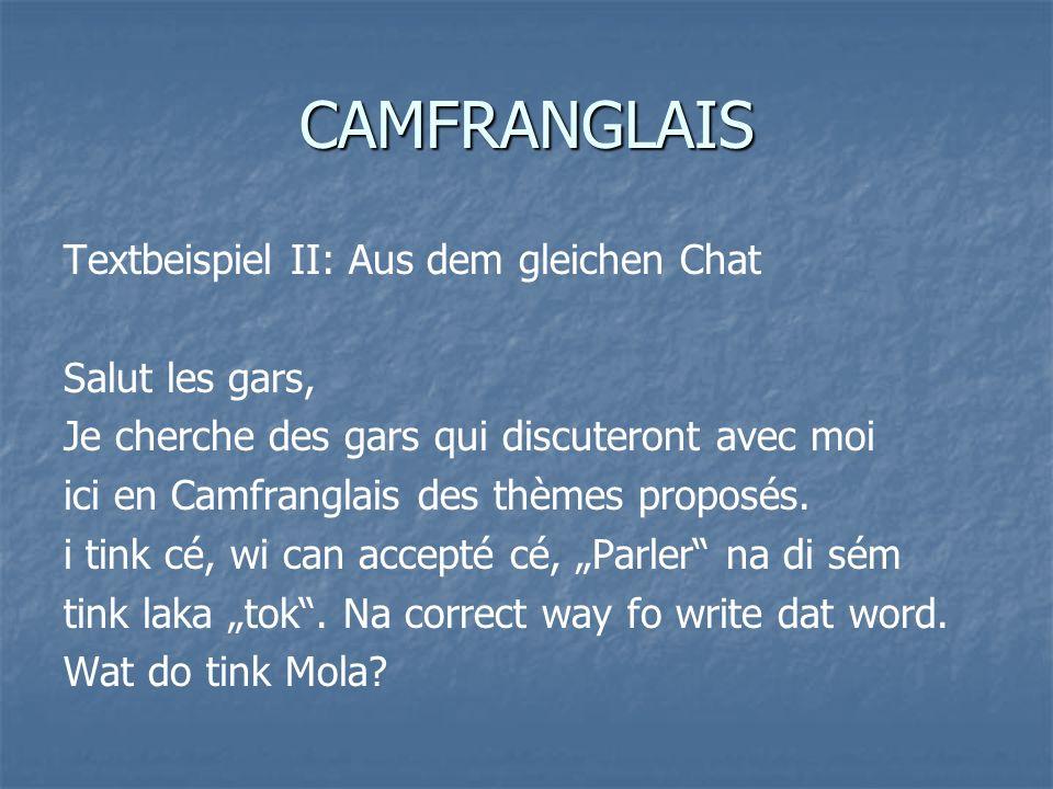 CAMFRANGLAIS Textbeispiel II: Aus dem gleichen Chat Salut les gars, Je cherche des gars qui discuteront avec moi ici en Camfranglais des thèmes propos