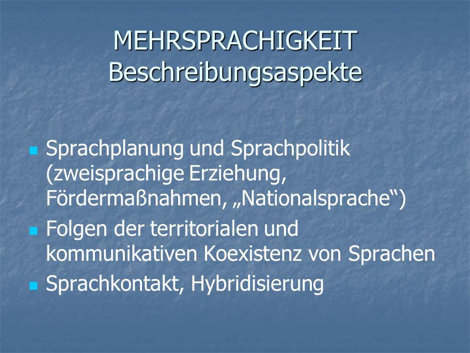 MEHRSPRACHIGKEIT Beschreibungsaspekte Sprachplanung und Sprachpolitik (zweisprachige Erziehung, Fördermaßnahmen, Nationalsprache) Folgen der territori
