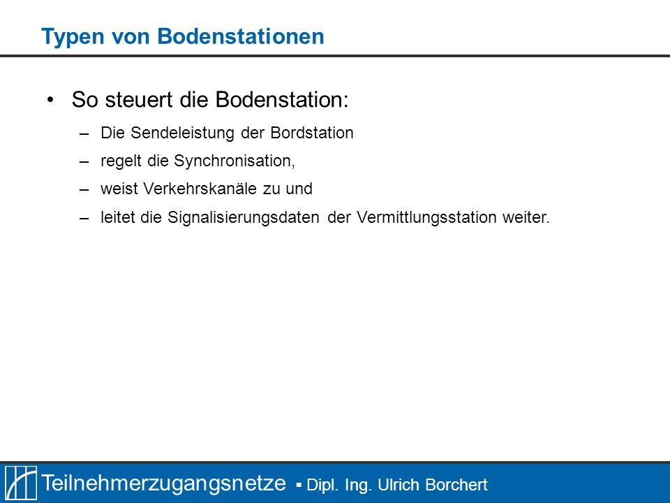 Teilnehmerzugangsnetze Dipl. Ing. Ulrich Borchert So steuert die Bodenstation: –Die Sendeleistung der Bordstation –regelt die Synchronisation, –weist