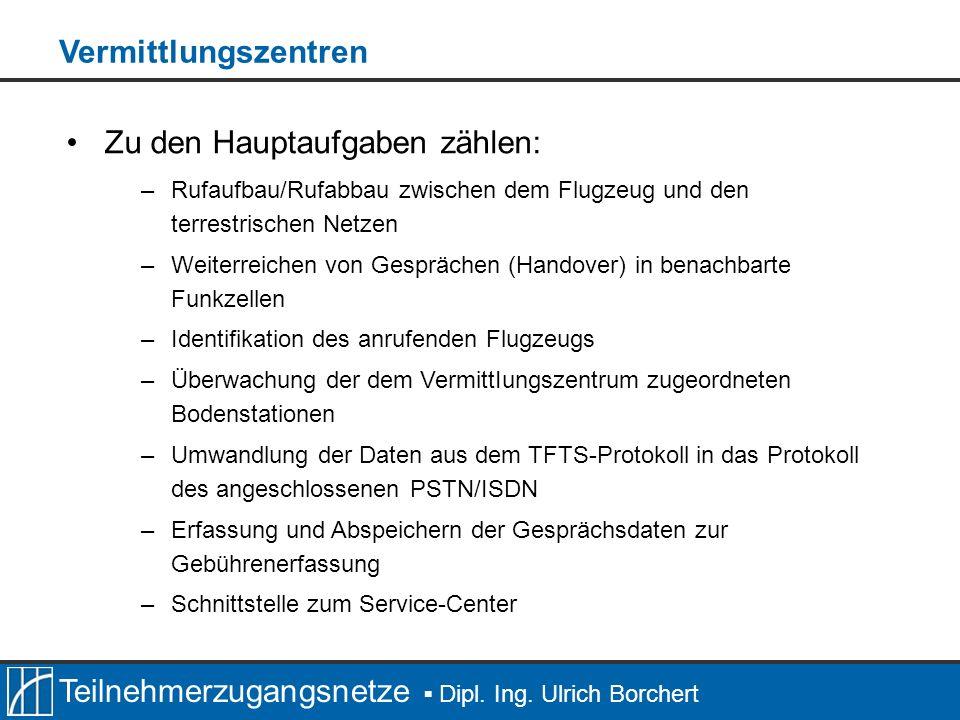 Teilnehmerzugangsnetze Dipl. Ing. Ulrich Borchert Zu den Hauptaufgaben zählen: –Rufaufbau/Rufabbau zwischen dem Flugzeug und den terrestrischen Netzen